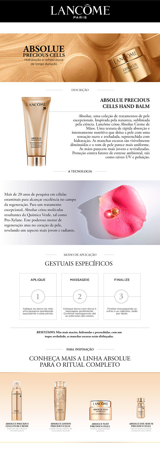 Creme para Mãos Lancôme Absolue Precious Cells Hand Cream