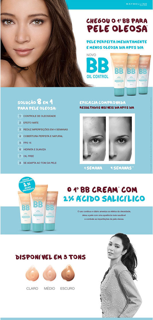 Base Facial BB Cream Oil Control de Maybelline. O Primeiro BB Cream para Peles Oleosas.