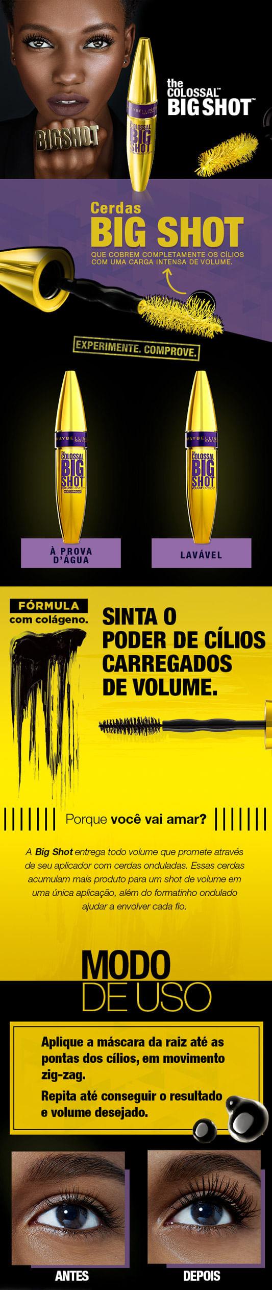 Máscara para Cílios Maybelline - The Colossal Big Shot à Prova d'Água