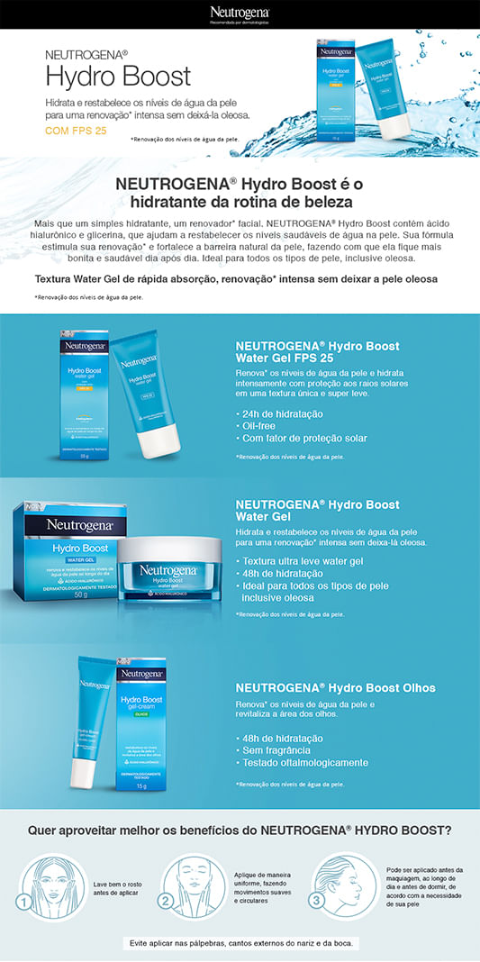 Gel Hidratante Facial Hydro Boost Water Neutrogena FPS25