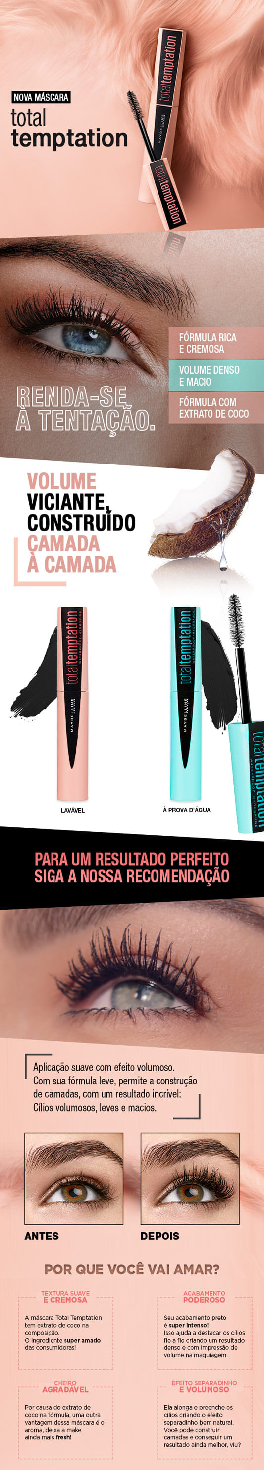 Total Temptation Washable Maybelline - Máscara de Cílios